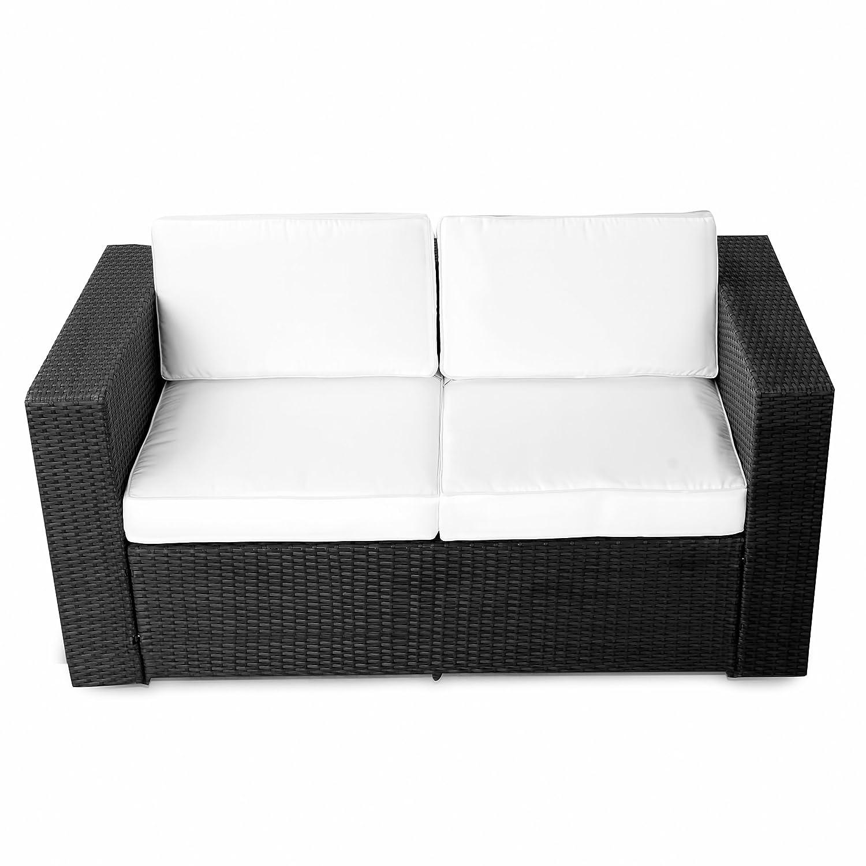 Gartensofa polyrattan  Amazon.de: (2er) Polyrattan Lounge Möbel Sofa schwarz ...