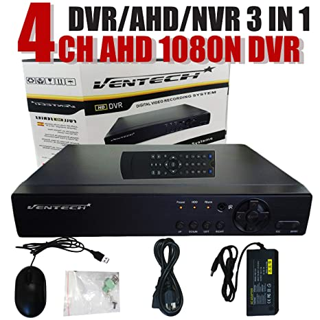 DVR 4 Channel Ventech 1080 3 in 1 ch Hybrid Surveillance Recorder Security  Systems HDMI Output QR Code Set Up Push Alerts on Cell Phones & Free App