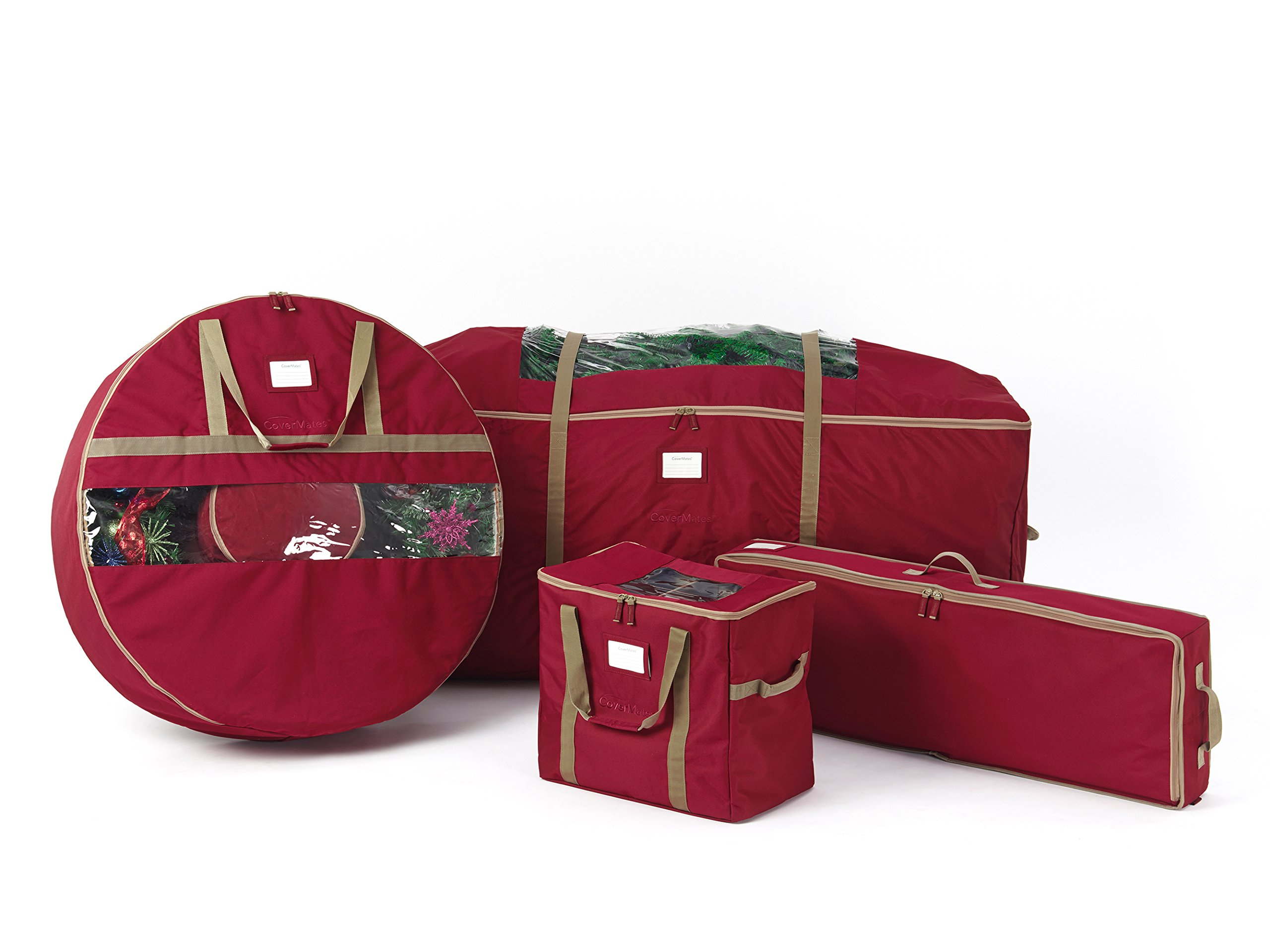 CoverMates – 4PC Holiday Storage Set (48'' Tree Storage Bag + 30'' Wreath Storage + Deluxe Gift Wrap + 72PC Ornament Storage Bag) – 3 Year Warranty- Red