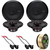 "4x Rockford Fosgate R165X3 Prime 6.5"" Inch 180 Watt 3-Way Full-Range Black Car Coaxial Audio Speaker Bundle Combo With 4x Speaker Harness for Select 1984-2013 GM Vehicles + 50 Ft 16-Gauge Speaker Wire"