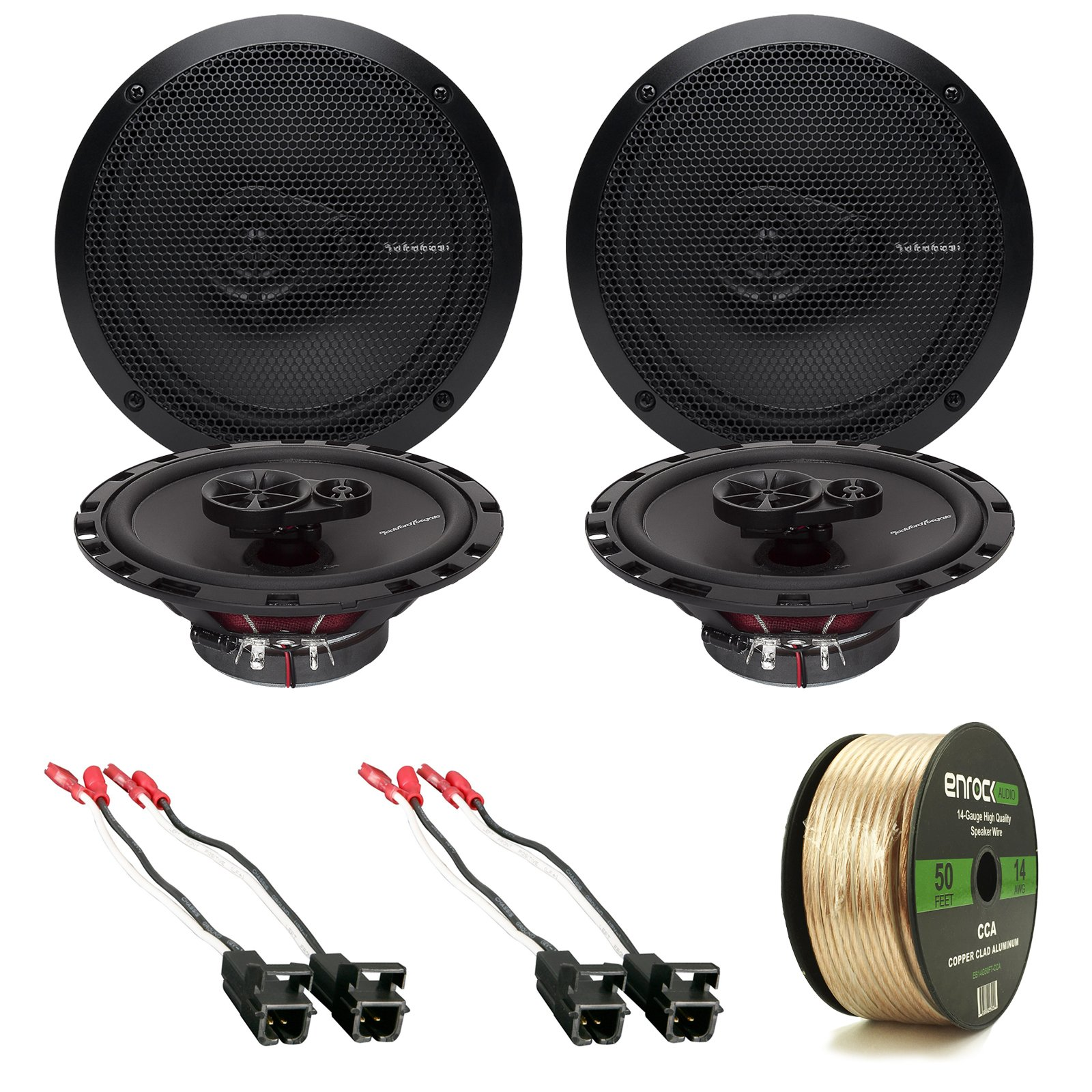 4x Rockford Fosgate R165X3 Prime 6.5'' Inch 180 Watt 3-Way Full-Range Black Car Coaxial Audio Speaker Bundle Combo With 4x Speaker Harness for Select 1984-2013 GM Vehicles + 50 Ft 16-Gauge Speaker Wire