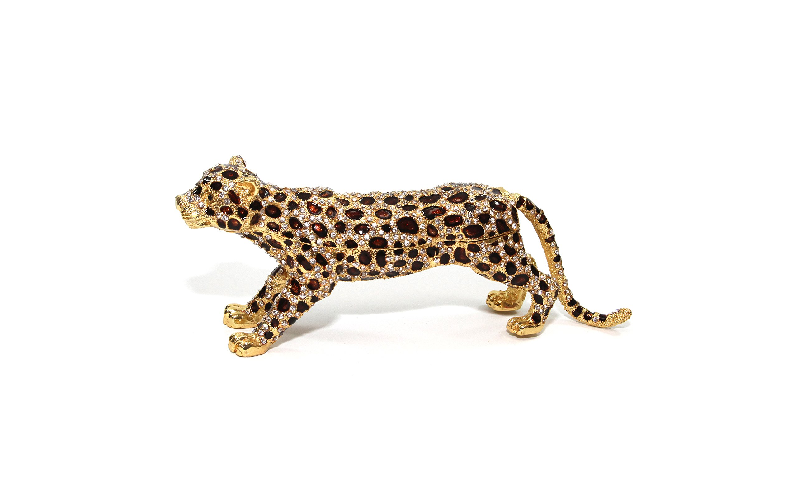 Gold & Brown Leopard 6-inch Enameled Figurine, 24K Gold Trinket Jewelry Box with Swarovski Crystal, Hand-made (Leopard)