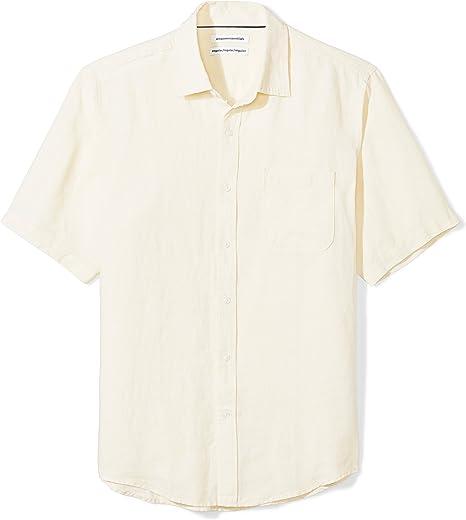 Amazon Essentials - Camisa a cuadros de lino con manga corta para hombre.: Amazon.es: Ropa y accesorios