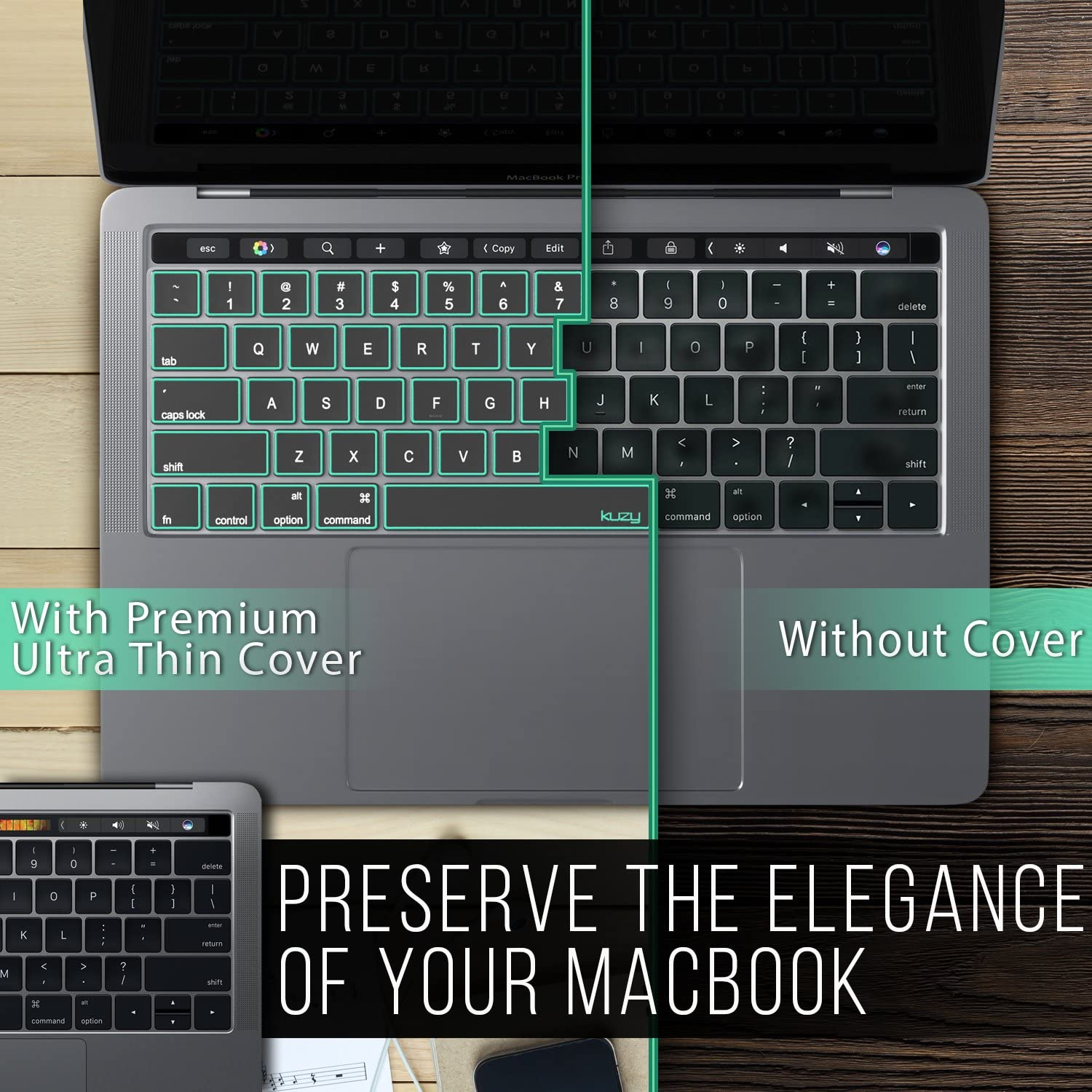 Apple Model A2159 A1989 A1990 A1706 A1707 Skin Protector MacBook Pro Keyboard Cover with Touch Bar 13 and 15 inch Premium Ultra Thin TPU 2019 2018 2017 2016 Mint Kuzy