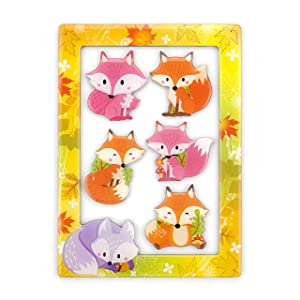 "Morcart 6-in-1 Fridge Magnets and 4""x 6"" Magnetic Photo Frame Set 5pcs Fox Refrigerator Magnets, Best Gift Choice (Fox Magnets)"