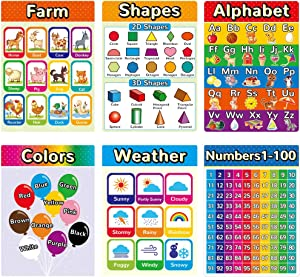Educational Posters for Preschool, Toddlers, Kids Posters for Kindergarten, Nursery Home-School, Classroom, Daycare, Wall Decorations for Elementary Children Learning (6 Pieces A)
