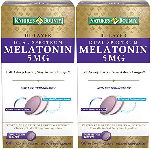 Amazon.com : Natures Bounty Dual Spectrum Bi-Layer Melatonin Tablets, 5mg, 120 Tablets (2 X 60 Count Bottles) : Beauty