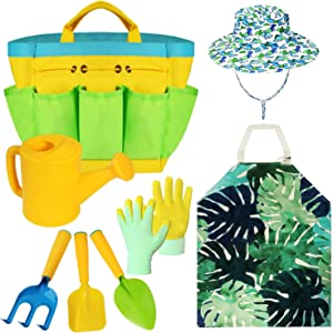 Kids Gardening Tools Set -Boy Garden Play Toys- Includes Sturdy Storage Bag, Watering Can, Gardening Gloves, Shovels, Apron, Sun Hat, Children Outdoor and Learning Toys All in One Tote.