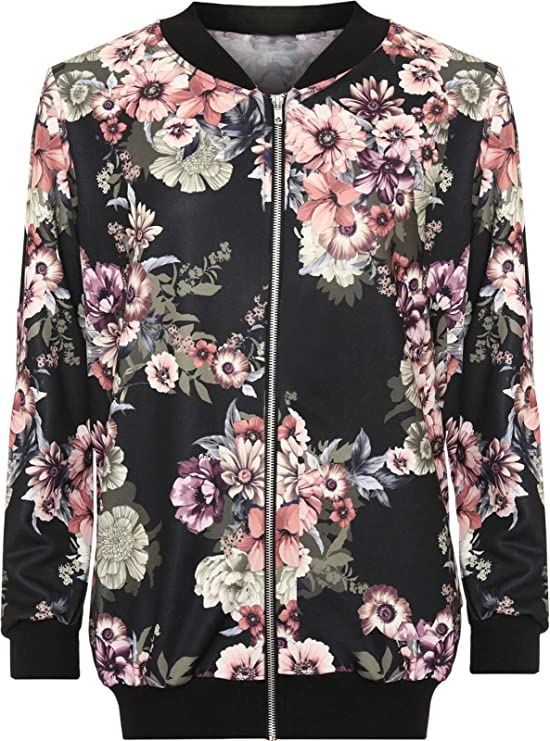Top Fashion Dames Grande taille Bomber Jacket Zip Floral 42-56