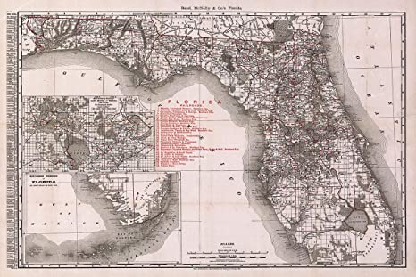 County Map Florida With Cities.Antiguos Maps Florida County And Township Map Shippers Guide Showing All Railroads Cities Towns Villages Post Offices Lakes And Rivers Circa