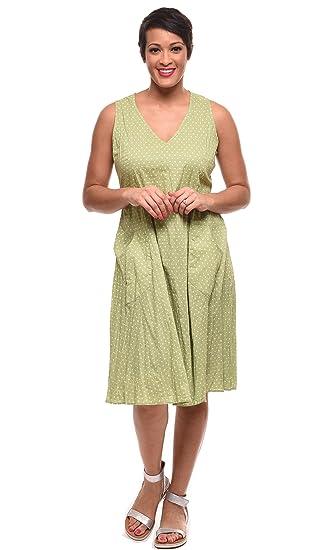 89325099aa9 Tulip Clothing Myla Dress in Green White Dot at Amazon Women s ...