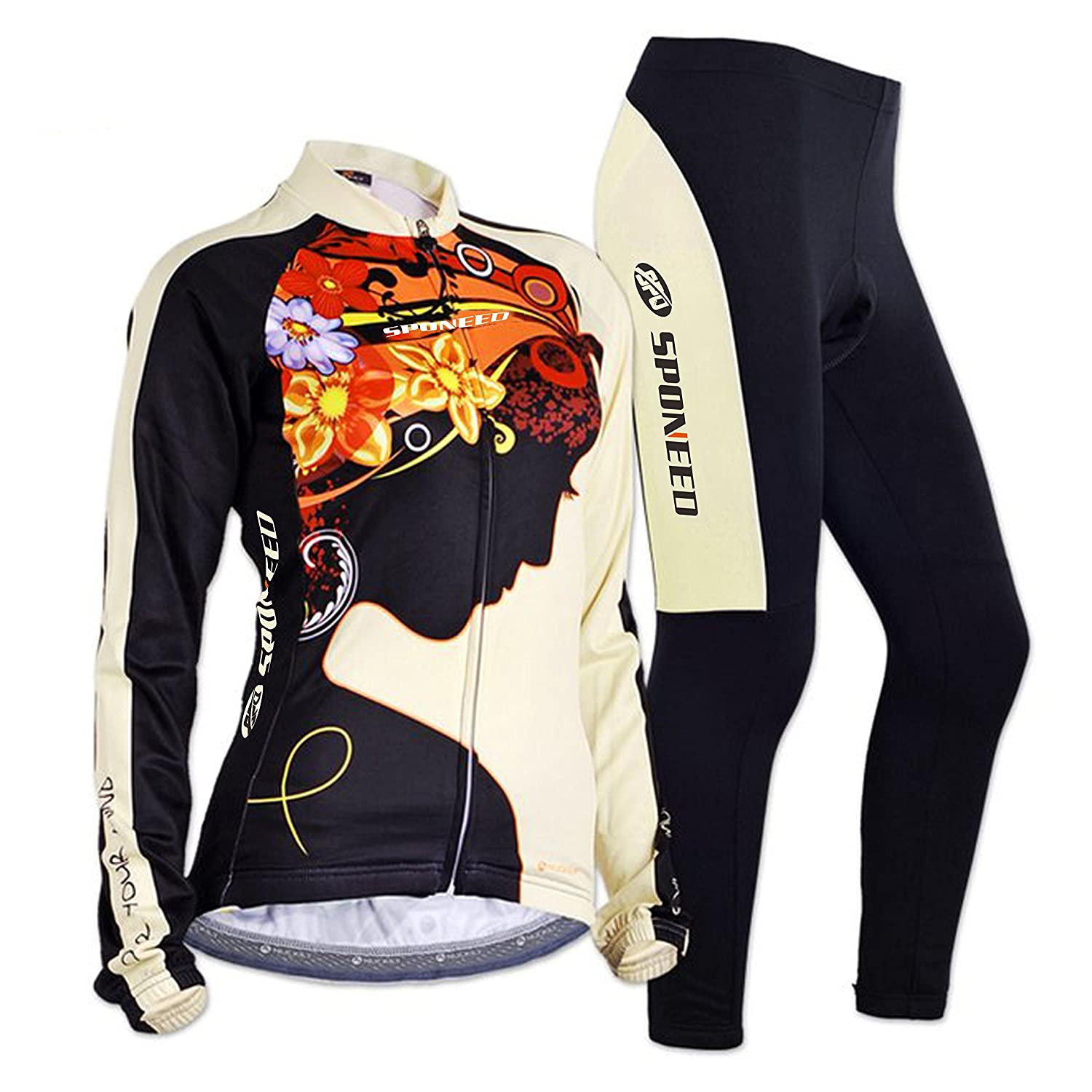sponeed Cycling Jersey Women Colorful Long Sleeve Shirt Pants Set UV Protective Sentibery