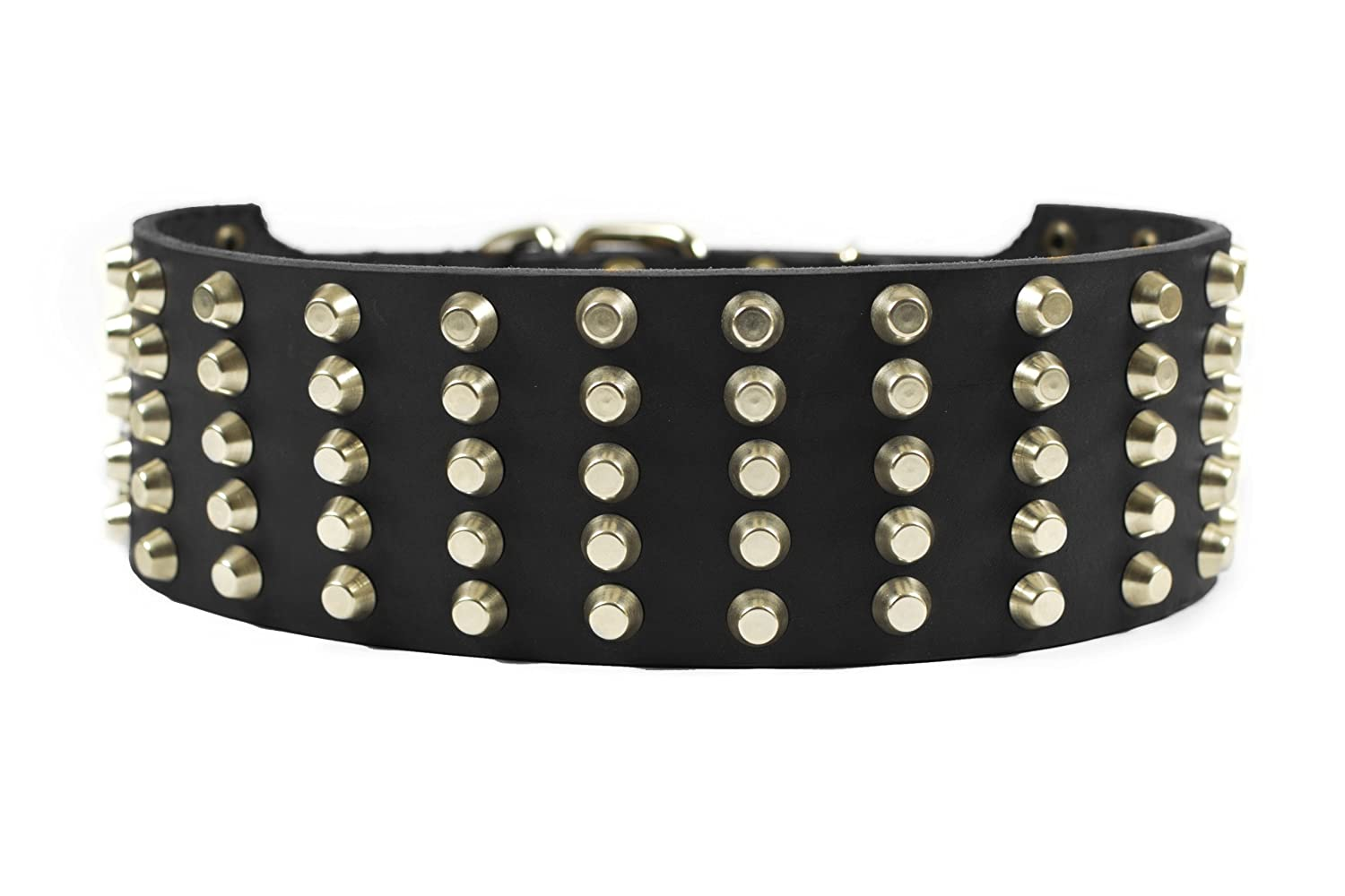 Dean and Tyler Wide Stud , Extra Wide Leather Dog Collar with Strong Nickel Studs Black Size 28-Inch by 2-3 4-Inch Fits Neck 26-Inch to 30-Inch