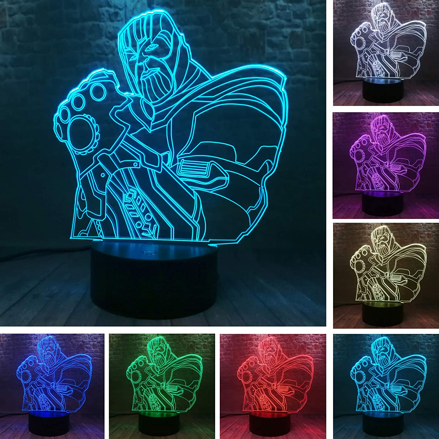 Fanrui Avengers Endgame Thanos Infinity Gauntlet Lamp 7 Colors Change Smart Touch with IR Controller Led Night Light Flash Display Movie Marvel Thanos Figure Toys Boys Bedroom Home Table Decor Gifts