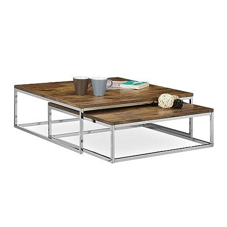 Relaxdays Couchtisch Holz FLAT 2er Set natur HBT 27 x 80 x 80 cm großer  Wohnzimmertisch passt ineinander als Satztisch flacher Beistelltisch mit ...