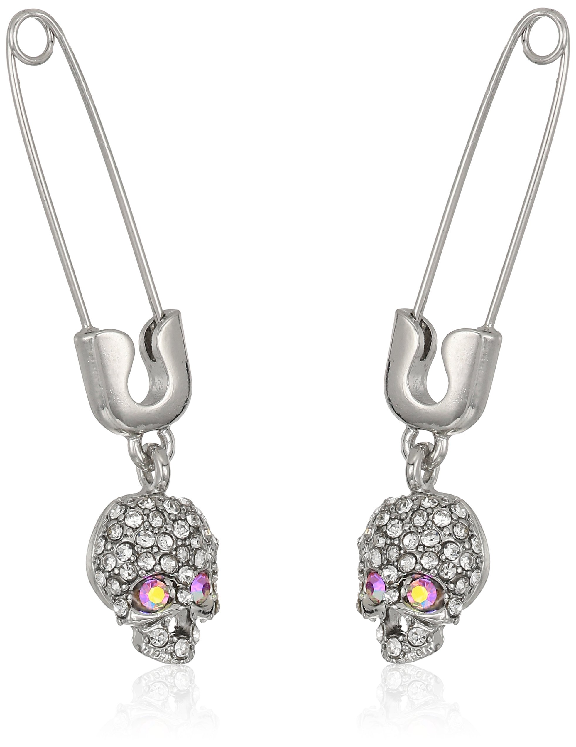 Betsey Johnson Women's Safety Pin with Skull Drop Earrings, Pink