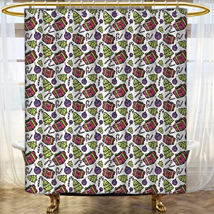 Anhounine Candy Cane Shower Curtains Waterproof Colorful Tree Ornate Boxes And Canes Pattern Christmas Themed