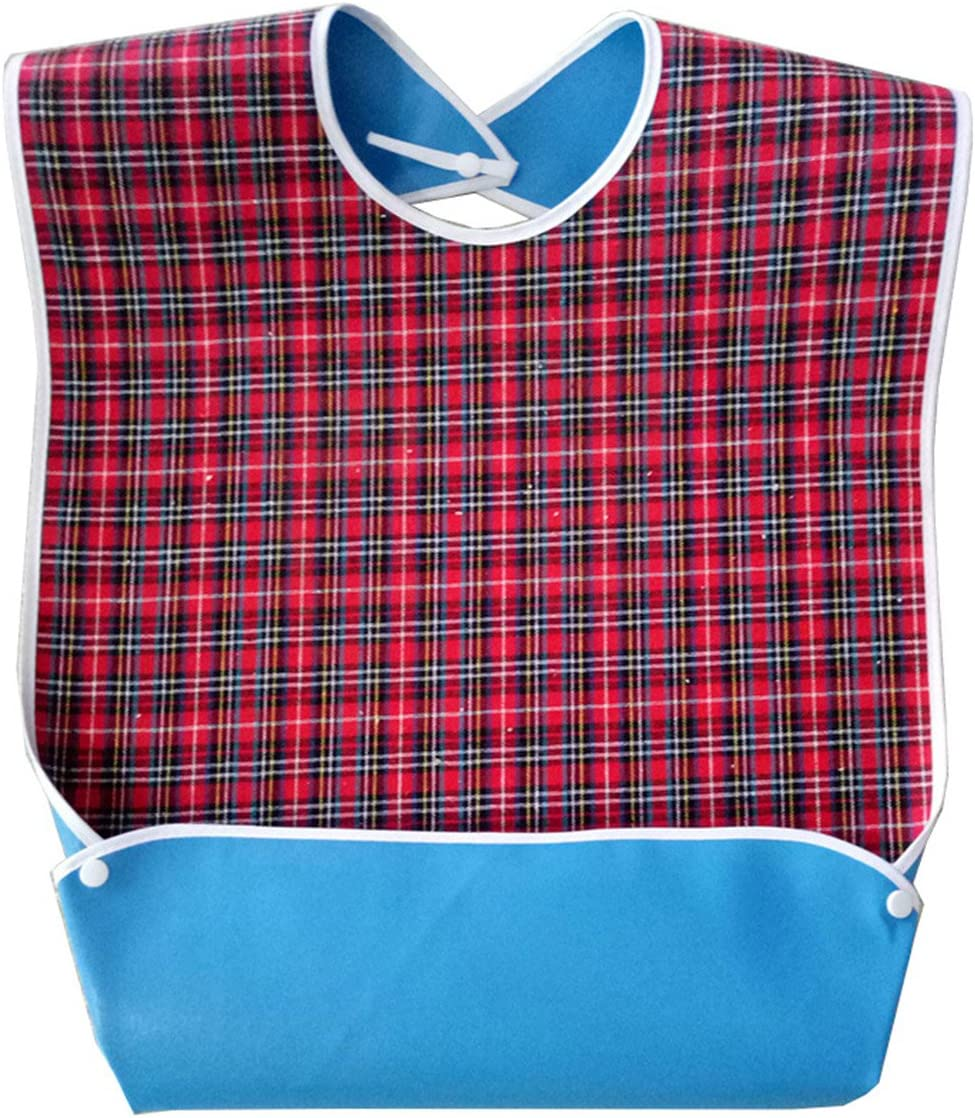 Adult Bib with Optional Crumb Catcher, Oenbopo Waterproof Backing Mealtime Clothing Protector Adult Aid Apron with Snaps for Elderly Patient Senior (Red)