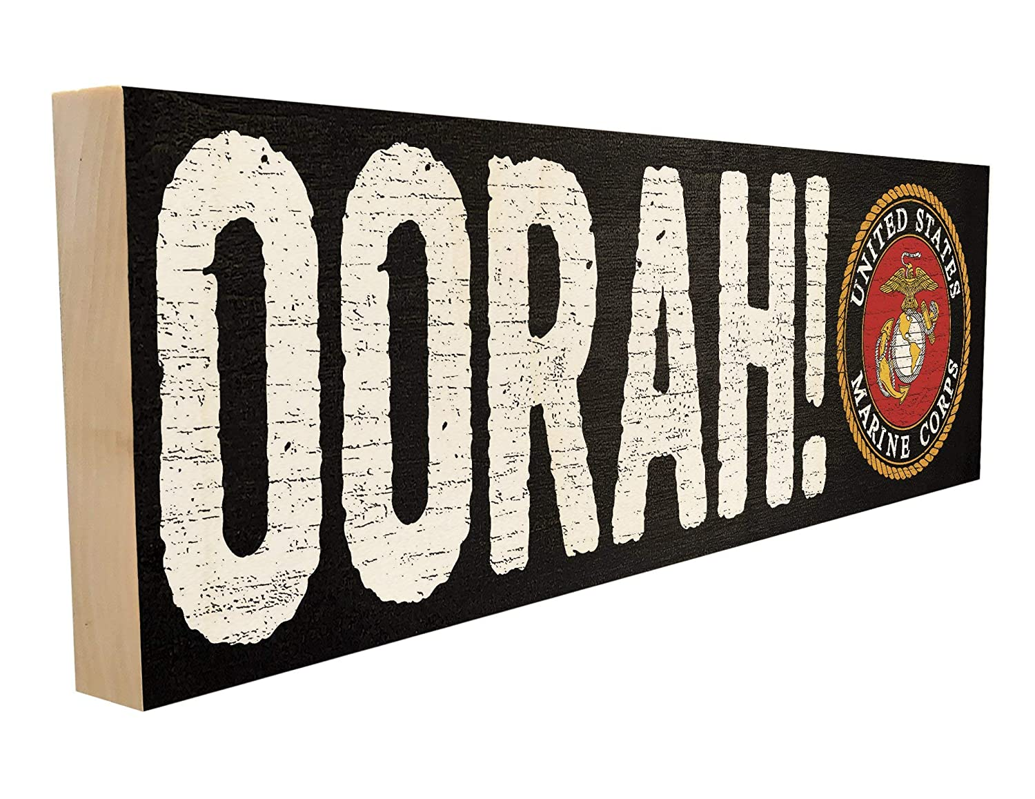 Oorah! Officially Licensed by The United States Marine Corps. Slogan, Saying or Quote for Friends and Family. 4 inches x 12 inches. Custom Handmade Solid Wood Block Sign. Hand-Crafted in Tennessee.