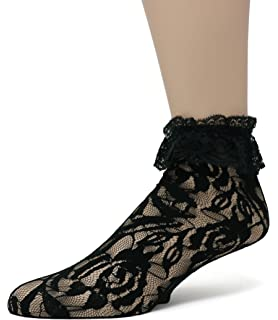 109a5efba0061 Sock Snob - 2 Pack Womens Fishnet Ankle Socks with Lace 5-9 US (Dark ...
