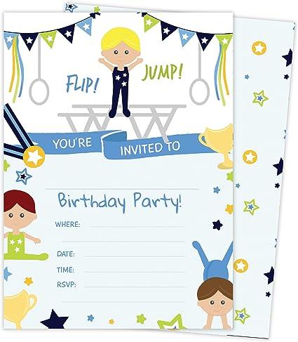 Amazon.com: Gymnastics - Tarjetas de invitación de ...