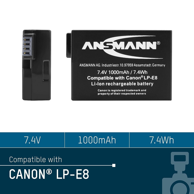 Ansmann Li Ion Akku A Can Lp E8 7 4v Typ 1000mah Kamera Canon Lithium Battery