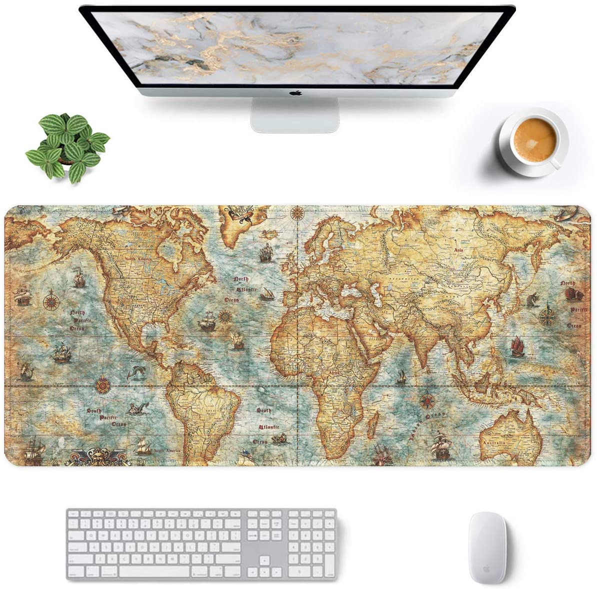 "Auhoahsil Large Mouse Pad, Full Desk XXL Extended Gaming Mouse Pad 35"" X 15"", Waterproof Desktop Mat with Stitched Edge, Non-Slip Laptop Computer Keyboard Mousepad for Office & Home, World Map Design"