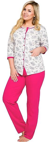 Merry Style Pijamas Tallas Grandes Plus Size Conjunto Camisetas Mangas Largas y Pantalones Largos Ropa de