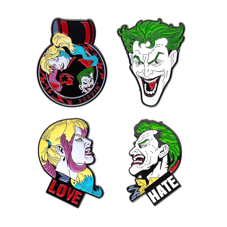 One Size 4 Piece Multi Color DC Comics Unisex Adult Joker and Harley Quinn Face Enamel Lapel Pin Set