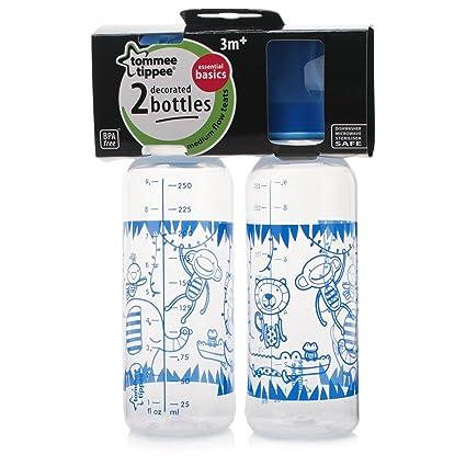 Tommee Tippee Explora Essentials Basics botellas de botellas de cuello decorado 2 por paquete azul