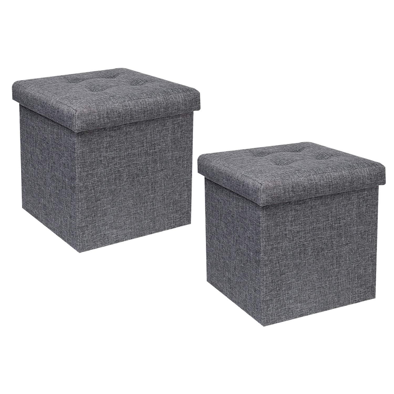 B FSOBEIIALEO Storage Ottoman Cube, Toy Chest Folding Footrest Stool Seat, Linen Grey 12.6''X12.6''X12.6'' (2 Pack) by B FSOBEIIALEO