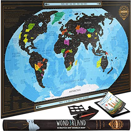 Travel Map Scratch Off World Map for Family Poster Large Size 24 X 36 Inches Tracks Your Adventures Includes Accessory Premium