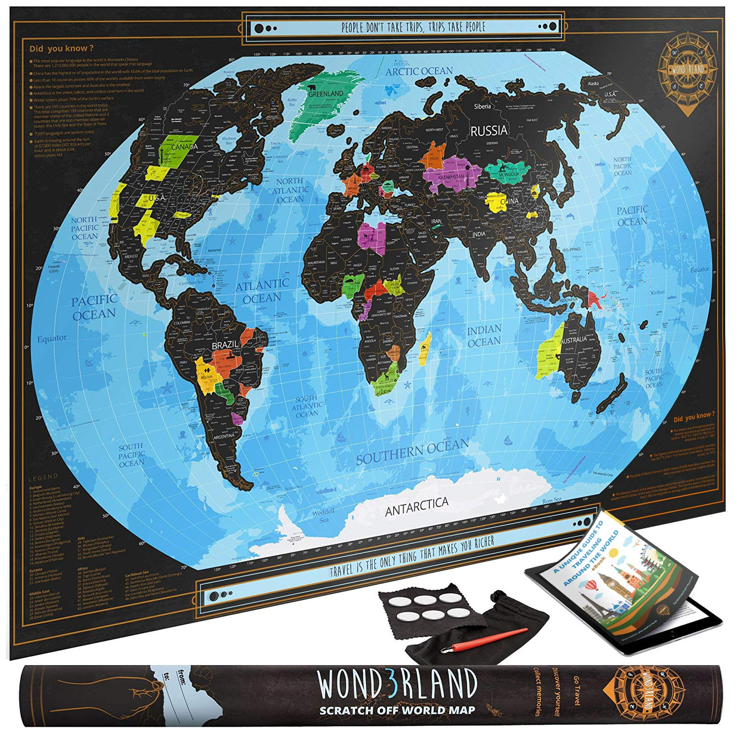 Wond3rland Scratch Off Map of the World with outlined Canadian ...