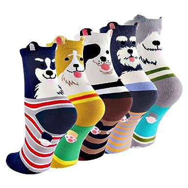 (コナミヤ) Konamiya レディースかわいい靴下 動物柄ソックス カラフルファッション靴下セット, 5