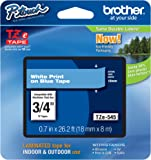 """Brother P-touch Genuine TZe-545, ~3/4"""" (0.7"""") White on Blue Standard Laminated Tape –26.2 ft(8m) (TZE545)"""