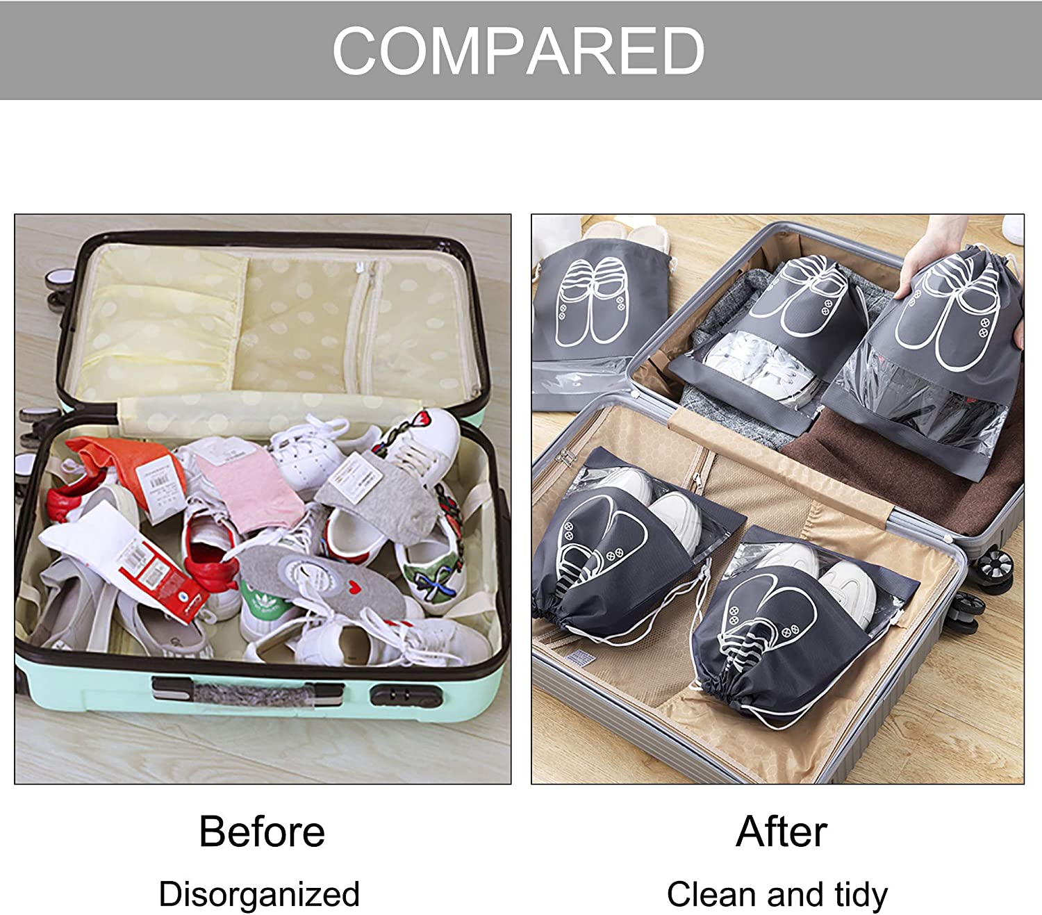 Shoe Bag Travel Drawstring Portable Non-Woven Shoes Storage Pouch 12PCS Waterproof with Transparent Window Dust Proof for Boots High Heel Socks Large