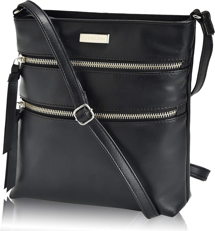 Crossbody Purse Black Genuine Leather