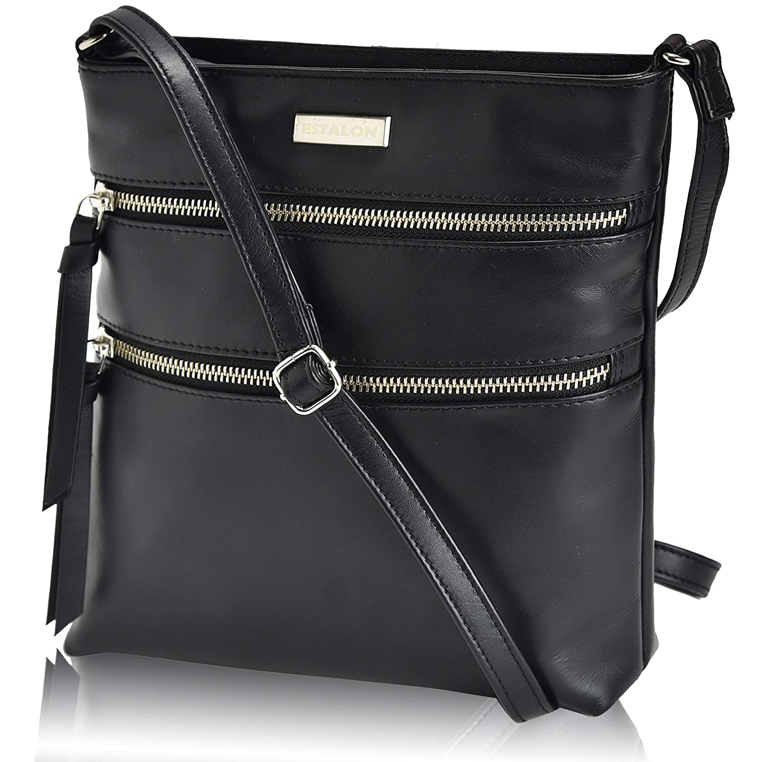 1287c8637 Leather Crossbody Purse for Women- Small Crossover Cross Body Bag Long Over  the Shoulder Sling Womens Purses and Handbags: Handbags: Amazon.com