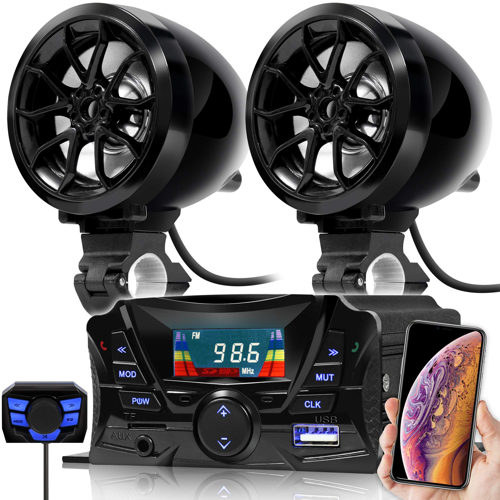 GoHawk TS3 Gen.2 Motorcycle 3'' Waterproof Bluetooth Speaker 7/8-1 in. Handlebar Mount MP3 Music Player Audio Stereo Amplifier System ATV UTV w/AUX in, USB, Micro SD, FM Radio (TS3 Black)