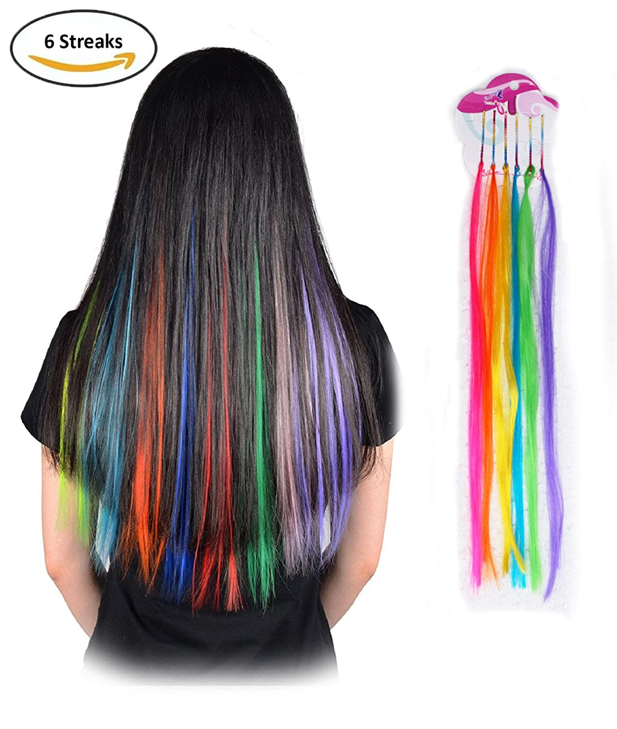 Fok Set of 6 Multi Color Party Highlights Hair Extensions Colorful Hair  Streaks Hairpieces (Bright)