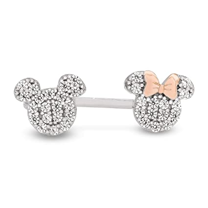 60b39ab50 Image Unavailable. Image not available for. Color: Disney Mickey and Minnie  Mouse Sterling Silver Pave Cubic Zirconia ...