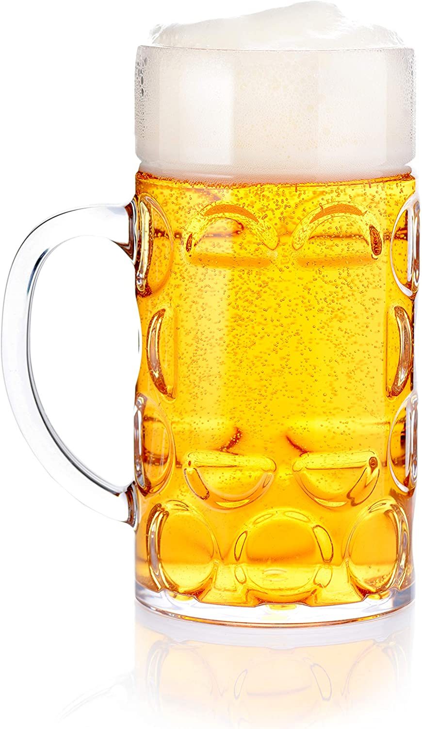 32oz Plastic Beer Mug Bierstein (1 liter) with Handles, Reusable, Dishwasher Safe, Plastic for Indoor/Outdoor Use