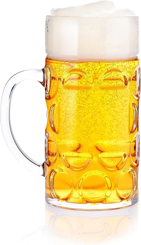 Intermolding 16oz Plastic Beer Mug Bierstein (0.5 Liter) with Handles