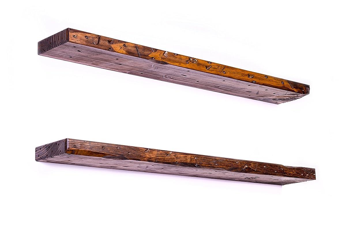 "DAKODA LOVE Rugged Distressed Floating Shelves, USA Handmade, Clear Coat Finish, 100% Countersunk Hidden Floating Shelf Brackets, Beautiful Grain Pine Wood Rustic Wall Decor (Set of 2) (36"", Bourbon)"