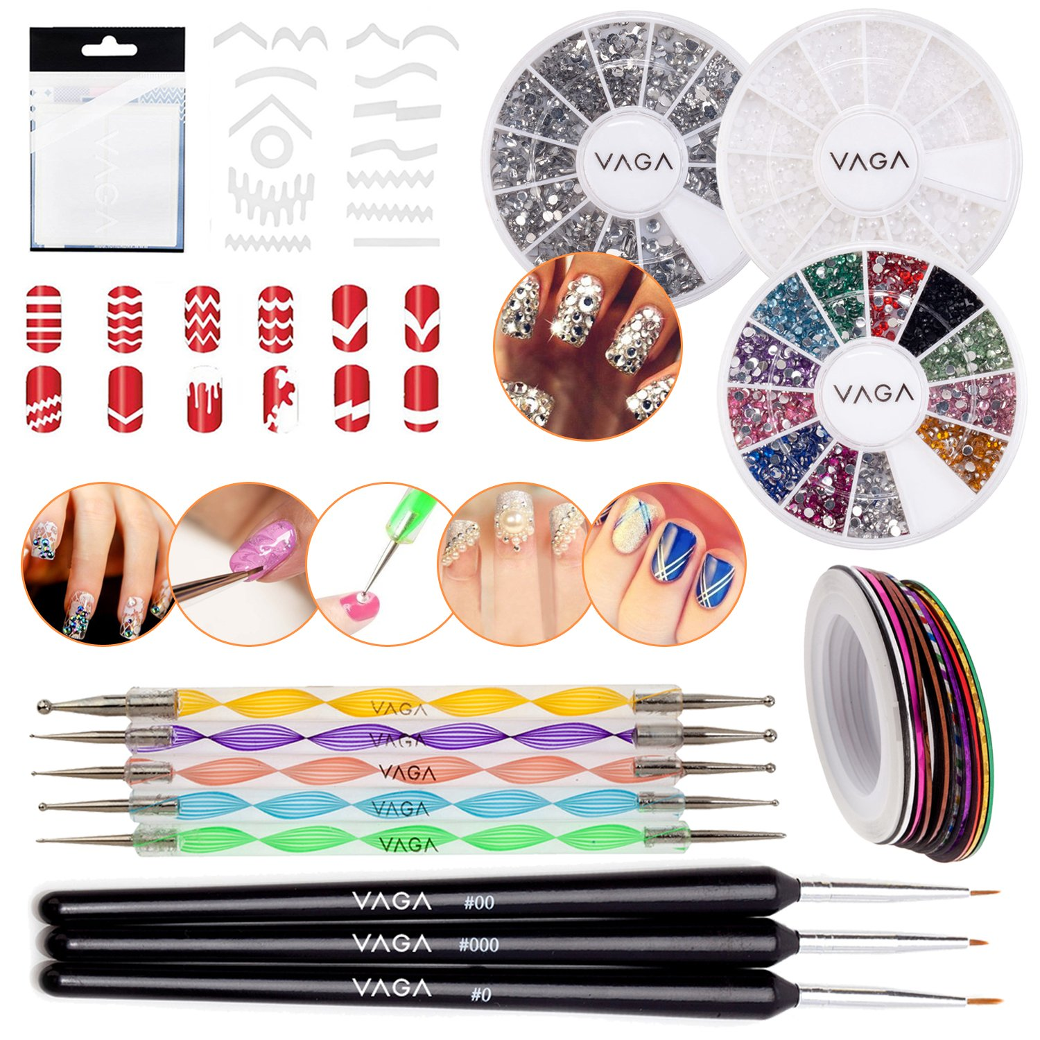 Nail Art Set With 347pcs Guides Strips In 13 Different Shapes, 2 Wheels With Rhinestones, Wheel With White Pearls, 3 Wooden Fine Detail Brushes, 5 Dotting Tools And 30 Rolls Striping Tapes By VAGA