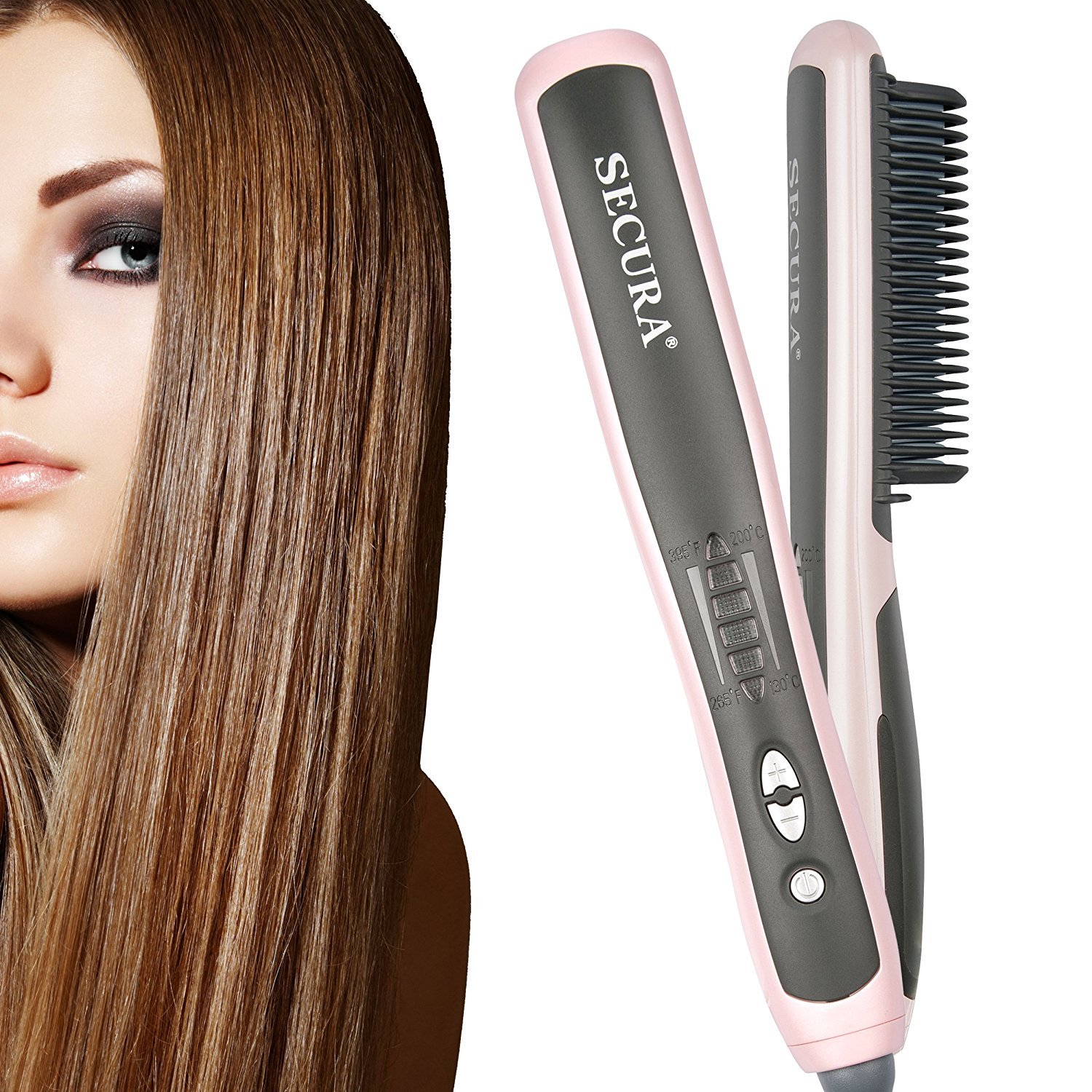 Secura Hair Straightener Comb with PTC Ceramic Heating Elements and 6 Levels of Temperature Control Hot Comb Hair Straightener