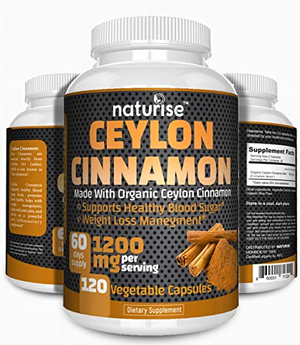 Ceylon Cinnamon Capsules Made with Organic Cinnamon Powder 120 Cinammon Capsules, 1200mg High Potency, 60-Day Supply, Non-GMO, Vegan, Support Healthy Blood Sugar Supplements, Weight Loss Management