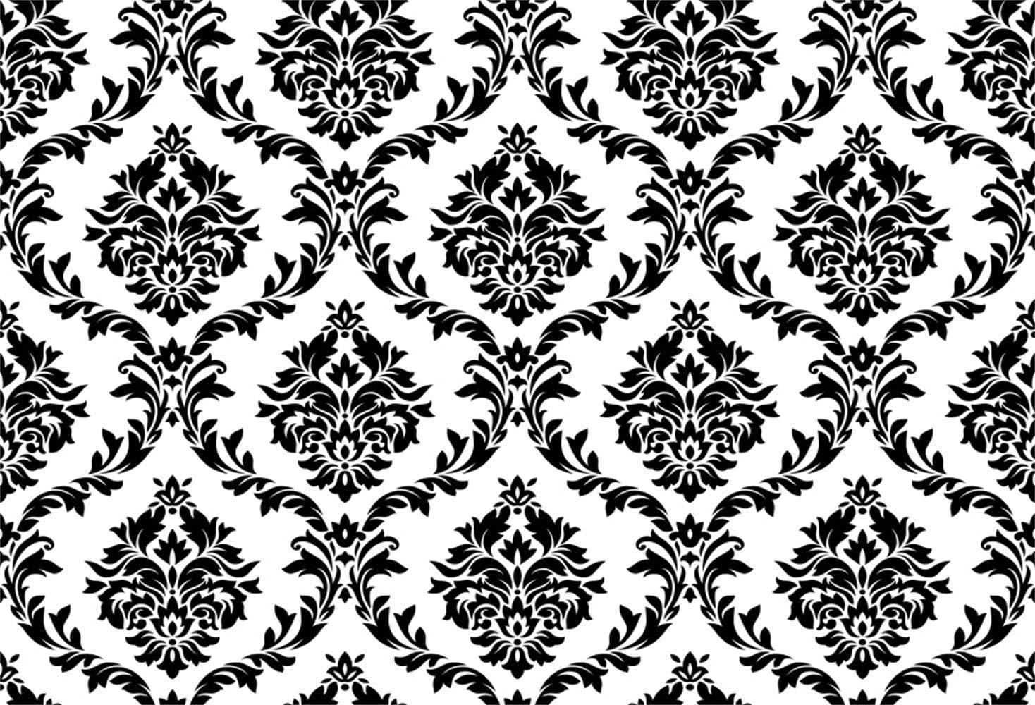 Vintage White Black Damask Wall 10x8ft Vinyl Photography Background Plain Style Personal Artistic Portrait Wedding Shoot Backdrop Indoor Decors Wallpaper Studio Props Nostalgia