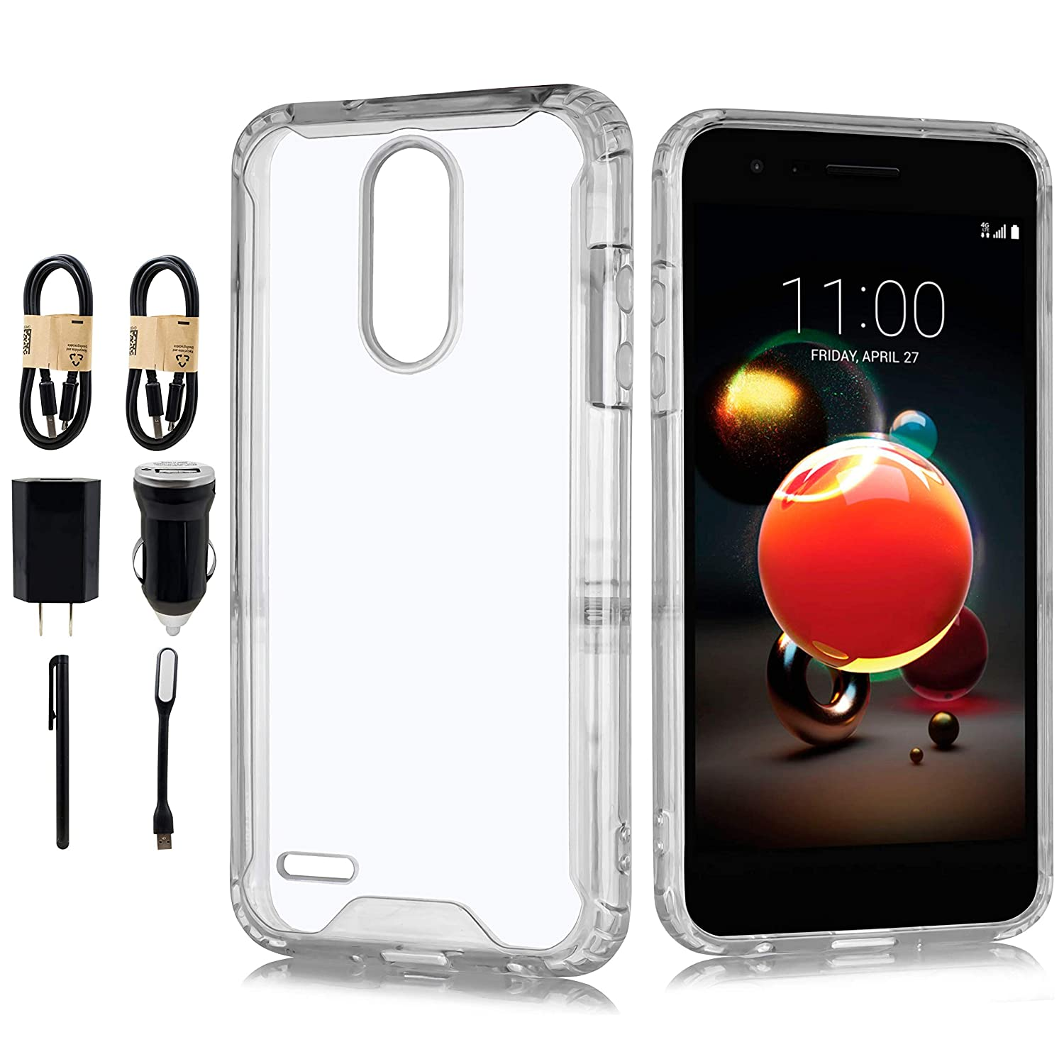 Case for LG Aristo 3 Phone/LG Tribute Empire/LG Aristo 2, Slim Heavy Duty Shockproof with Rugged Hard PC and TPU Bumper Protective Armor Phone Cover [Accessory Pack] (Clear)