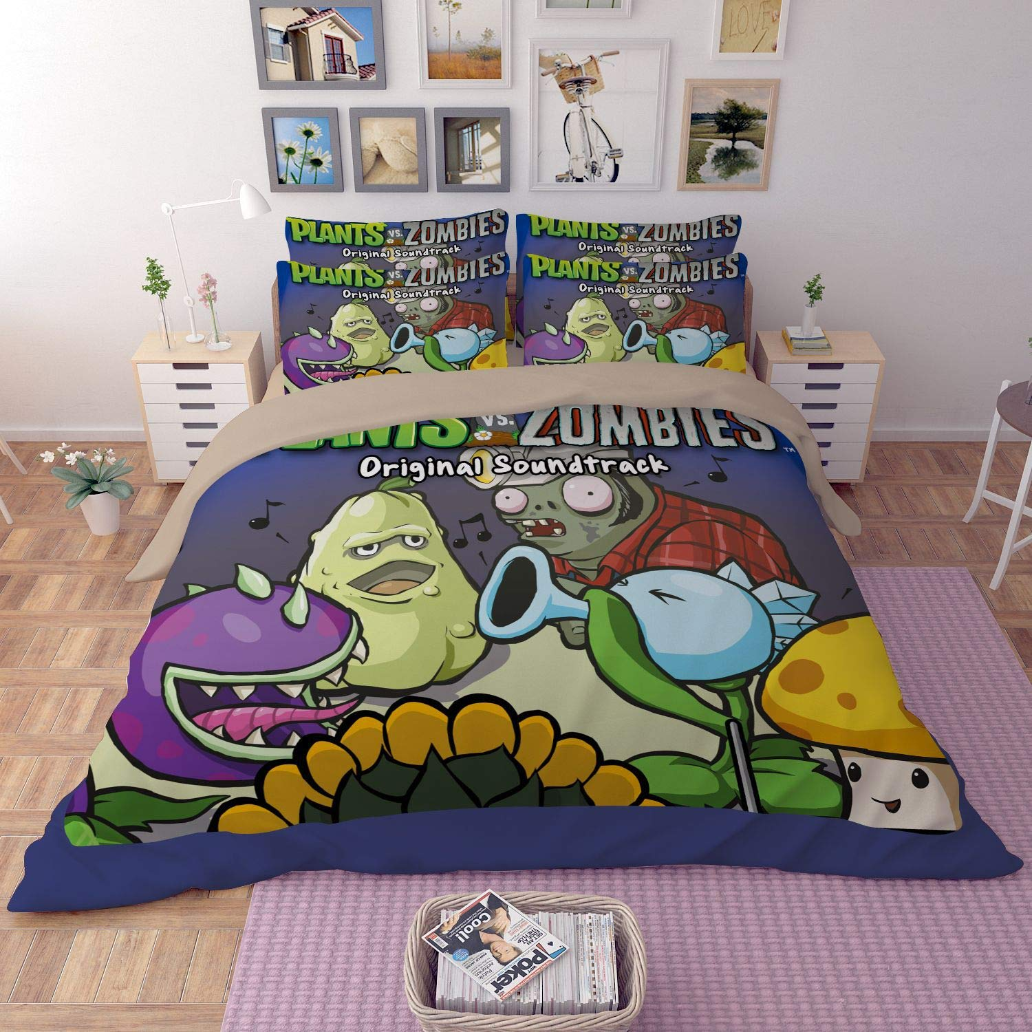 Paixide Plants VS. Zombies Bedding Sets 3D Children's Cartoon Duver Set Best Gifts for Game Funs with 3 Pieces 1 Duvet Cover 2 Pillowcases,Twin